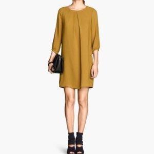 H&M Mustard Yellow Long-Sleeved Shift Dress